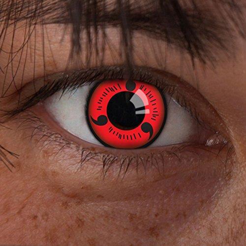 aricona Kontaktlinsen - Sharingan Kontaktlinsen Sharingan Naruto - Farbige Kontaktlinsen ohne Stärke für Cosplay, Karneval, Fasching, Motto-Partys und Halloween Kostüme, 2 Stück