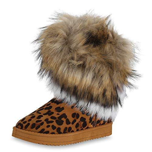 SCARPE VITA Damen Stiefeletten Schlupfstiefel Warm Gefütterte Winter Stiefel 171798 Leopard Hellbraun 40