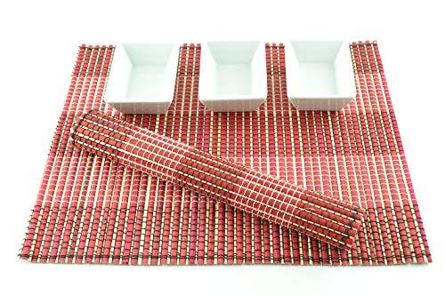 CP009 Lot de 4 sets de table en bambou faits à la main respectueux de l'environnement Rose/marron