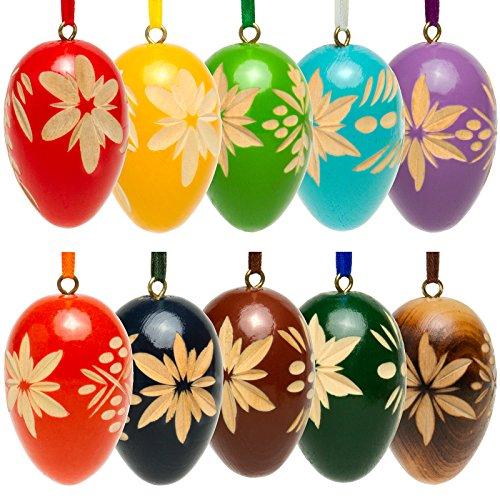 Sikora OD01 10er Set Holz Deko Ostereier mit geschnitzten Ornamenten gemischte Farben - erhältlich in 2 Größen, Farbe/Modell:Höhe je 5.7 cm - 10er Set mit gemischten Farben