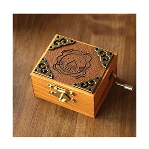 ZRJ Pretty Constellation Retro Hand-Crank Musical Box Wooden Mechanism Musical Box for Birthday Gift, Adult Child Fashion (Color : Lion, Size : Music:Sky in The City)