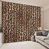 EZEZWSNBB Cortinas Opacas De Térmica Aislante 3D - Leopardo - Adecuado para Balcon,Salón,Habitación,Dormitorio Modernos Cortinas Accesorios Gancho Regalos Círculo Romano(75Cm X 166Cm)