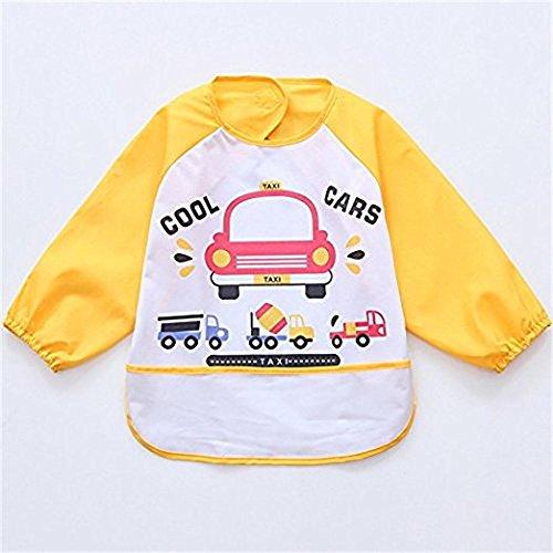1 Stks Oral-Q Unisex Kinderen Kids Art Craft Schilderij Schort Baby Waterdichte slabbetjes met mouwen en tas, 6-36 maanden (gele auto)