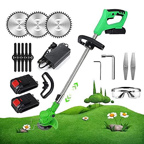 ZLJ Extractor de batería inalámbrico Cabezal Ajustable portátil a 90 ° y cortacésped con Mango telescópico de 30 cm con 3 Tipos de Cuchillas para Parques Granjas Maisoe Verde 2 x Bat (24v)