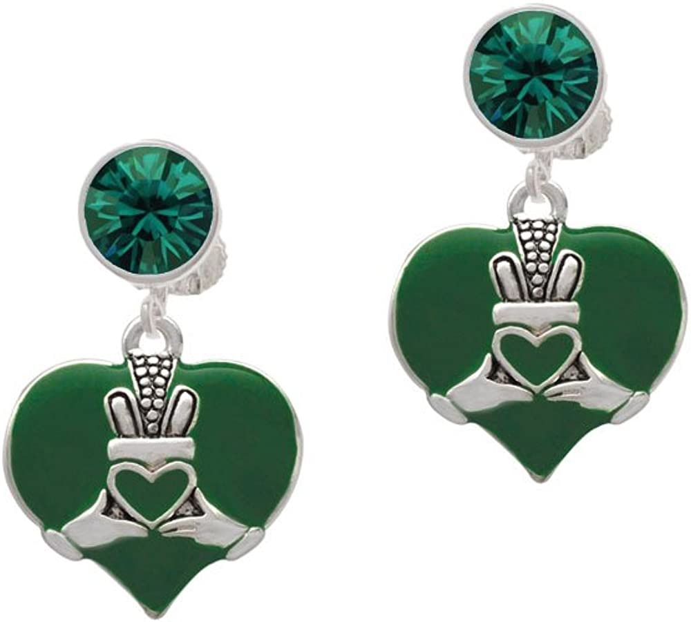 Silvertone Large 2-D Claddagh on - Cli Heart OFFicial site Challenge the lowest price Green Crystal