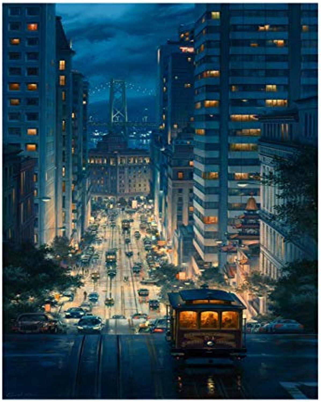Malen Nach Zahlen Stadt Nacht DIY Malen Nach Zahlen Moderne Wandkunst Bild Malen nach Zahlen Einzigartiges Geschenk Für Wohnkultur Eingerahmt 40x50 cm B07L3Q23HZ   Wunderbar