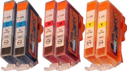 Start - 6 Ersatz Chip Patronen kompatibel zu CLI-526, Cyan, Magenta, Yellow für Canon Pixma iP4850, iP4950, iX6550, MG5150, MG5250, MG5340, MG5350, MG6150, MG6250, MG8150, MG8240, MG8250, MX884, MX885