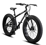 Mongoose Malus Adult Fat Tire Mountain Bike, 26-Inch Wheels, 7-Speed, Twist Shifters, Steel Frame, Mechanical Disc Brakes, Silver/Red