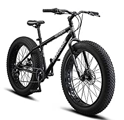 in budget affordable Mongoose Malus Fat Tire bike with 26-inch wheels, steel frame and mechanical disc brakes …