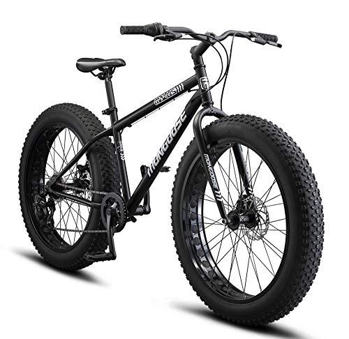Mongoose Malus Adult Fat Tire Mountain Bike, 26-Inch Wheels, 7-Speed, Twist Shifters, Steel Frame, Mechanical Disc Brakes, Matte Black
