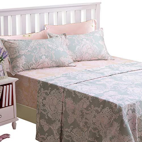 Brandream Full Size Sheets Cotton Set Farmhouse Bedding Sets Damask Sheets Set Blush Pink Grey Bed Sheet Set Deep Pockets 18 Inch 4 Piece