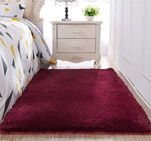 linyingdian Tappeti di Zona Moderna Ultra Morbida Soffici tappeti Soggiorno Adatto per Bambini Camera da Letto Home Decor Nursery Tappeti (Vino Rosso, 80x120cm)