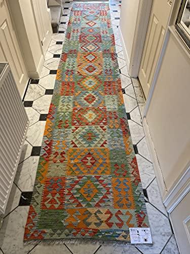 Alfombra oriental afgana hecha a mano Kilim de lana de colores naturales afganos turcos nómada persa tradicional persa 86 x 530 cm vintage corredor pasillo escalera reversible