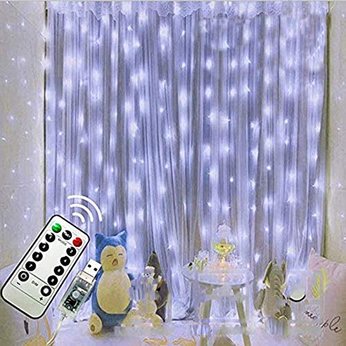 FANSIR 300 LED Curtain Lights, Upgraded USB Window Fairy String Lights 3mx3m 8 Modes Remote Control String Light Waterproof Silver String Lights for Wedding Party Indoor [Cool White LEDs]