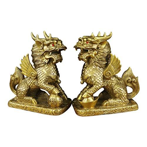 Feng Shui Golden Brass Satique de Kylin Decoración de la Oficina para la Riqueza y la Buena Suerte (un par)