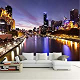 Fototapete Modern city Night view Fotografie Wandbilder Restaurant Lounge Sofa TV Hintergrund Fototapete 450X300Cm