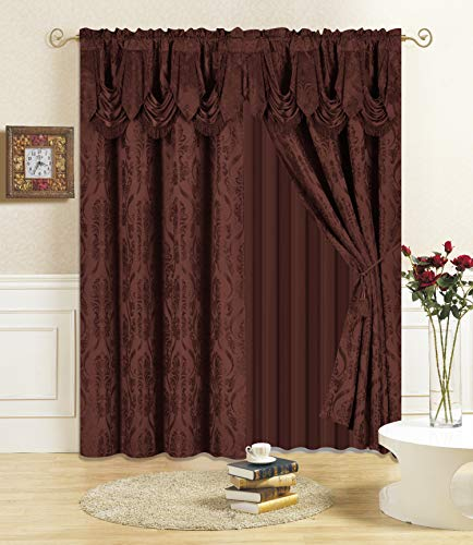 """All American Collection New 4 Piece Drape Set with Attached Valance and Sheer with 2 Tie Backs Included (84"""" Length, Coffee)"""