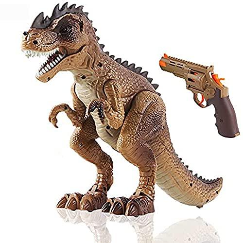 DeAO Inteligentny Dinosaur T-Rex Toy Hunter z opcja chodzenia, symulowanym rykiem i efektami ziania ogniem z dołączonym pistoletem zabawkowym w zestawie.