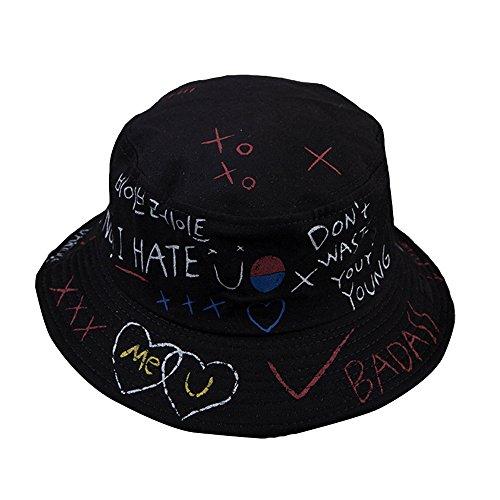 GEMSeven GEMSeven Brief Graffiti Bucket Hut Fischer Hüte Männer Frauen Sommer Street Dancer Panama Hut Hip Pop Hut UV Schutz Sonnenhut