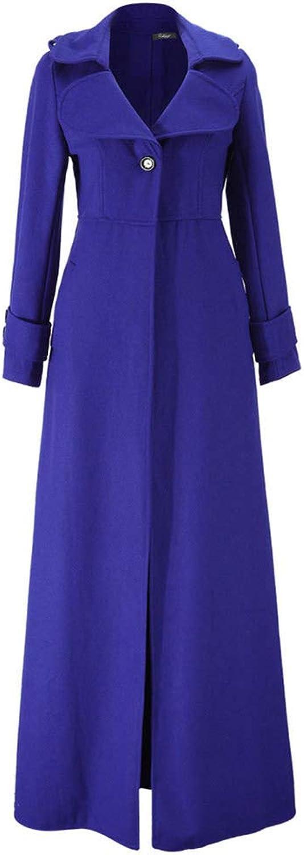 CrazyTiger Long Sleeve Full length Woolen Blend Slim Coat Jacket Windbreaker for Women Overcoat