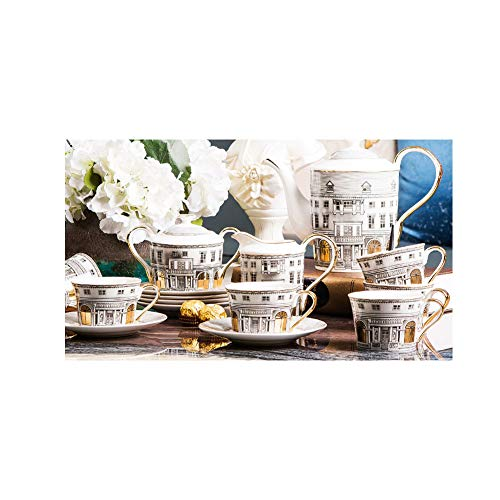 NAFE 15-teiliges Retro-Teeservice im europäischen Stil, Kaffeeset, Kaffeetasse und Untertasse, hochwertiges Bone China-Kaffeeset, englisches Nachmittagsteeset, Zuhause, Geschenk,Teeservice