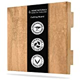 LARGE Wooden Cutting Board with Holder, Made from Thailand 100% Fruit Wood - BPA Free - Eco friendly - Large Size 15' x 15' Butcher Block Chopping Board for Kitchen