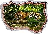 Pegatinas de pared Tiger Lake Jungle Nature Animal 3D Etiqueta de la pared Poster Decal Mural Room Z248 80x120cm