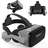 VR Glasses Virtual Reality Headset w/Remote for iPhone 12 11 Pro XS XR X 8 7 6S 6 Plus + Samsung S10 S9 S8 S7 Edge, VR Goggle for 3D Movie & Game for iOS Android PC Cellphone, Black