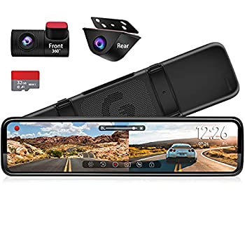 """PORMIDO 12"""" Mirror Dash Cam with Detached Front Camera,Anti Glare Full Touch Split Screen HD 1296P,Car Backup Rear View Mirror Camera Dual Lens Sony,Super Night Vision,Parking Assistance"""
