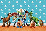 ERIC 7x5ft Cartoon Toy Story Blue Sky White Clouds Backdrop Kids Birthday Party Boy Baby Shower Background Step and Repeat Dessert Table Banner Photo Studio Photography Props LF-090
