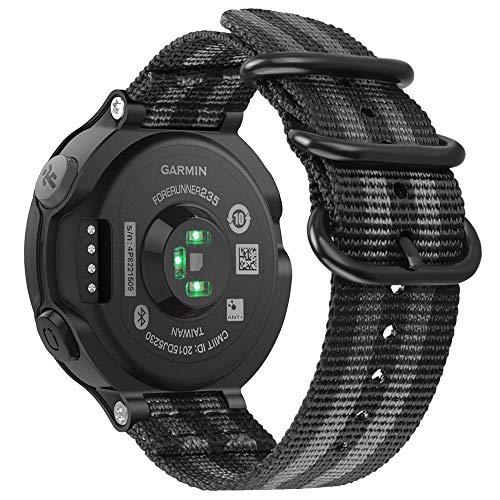 Fintie Armband kompatibel mit Garmin Forerunner 235/220 / 230/620 / 630 / 735XT Smart Watch - Nylon Uhrenarmband Sport Armband verstellbares Ersatzband mit Edelstahlschnallen, Schwarz/Grau