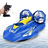 Remote Control Boat for Pools, Lakes and Smooth Land, RC Hovercraft with 2.4GHz Speedboat, Double Power, Low Battery Reminder, Speed Boat Remote Control Toy Gifts for Kids and Adults - Blue