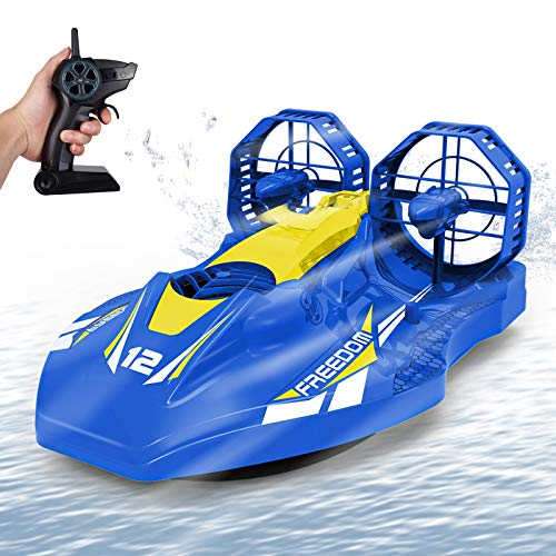 Remote Control Boat, RC Hovercraft for Pools Lakes and Smooth Land with 2.4GHz Speedboat, Double Power, Low Battery Reminder, Speed Boat Remote Control Toy Gifts for Kids and Adults - Blue