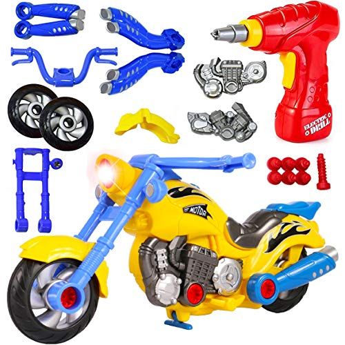 motorcycle toy for kids Kids Take Apart Toys - Build Your Own Toy Motorcycle Vehicle Construction Playset - Realistic Sounds and Lights with Tools and Electric Power Drill