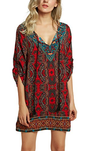 Women Bohemian Neck Tie Vintage Printed Ethnic Style Summer Shift Dress (2XL, Pattern 15)