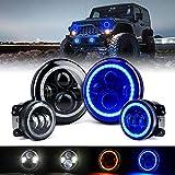 Xprite 7' 90W CREE LED Headlights & 4 inch 60W Blue Fog Lights Combo w/Blue Halo for 2007-2018 Jeep Wrangler JK