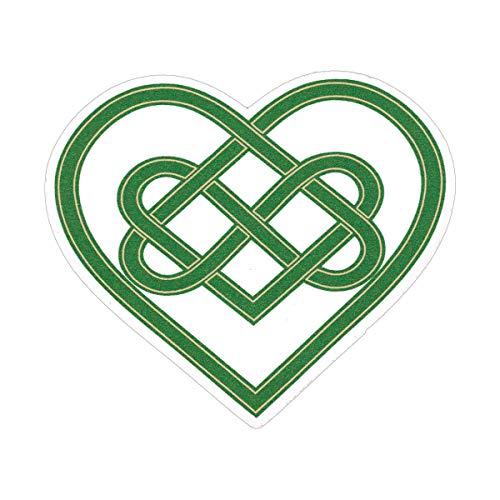 Custom Sticker Makers Green Celtic Knot Die Cut Irish Infinity Heart Car Bumper or Window Sticker Laptop Water Bottle Decal 3.5-by-3.25 Inches