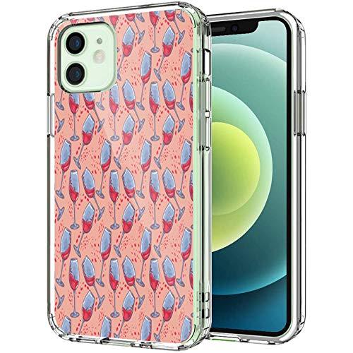 Bachelorette - Funda transparente compatible con iPhone 12 de 6.1 pulgadas 2020, dibujos dibujados a mano de copas de vino, para hombres y mujeres, delgada y suave a prueba de golpes, color rosa