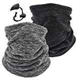 2 Pack Winter Neck Warmer Gaiter Ski Fleece Warm Windproof Face Scarf Cover Mask for Snowboard (2pcs WBlack+Darkgrey)