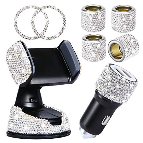 8 Pack Bling Car Accessories Set for Women, Bling Crystal Car Phone Mount with One More Air Vent Base,Bling Car Headrest Head Rest Collars Rings, Bling Dual USB Car Charger, Rhinestone Car Decor Set
