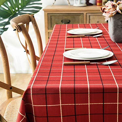 Dust-Proof Cotton Linen Table Cover for Buffet Table, Parties, Holiday Dinner Polyester jacquard waterproof plaid tassel