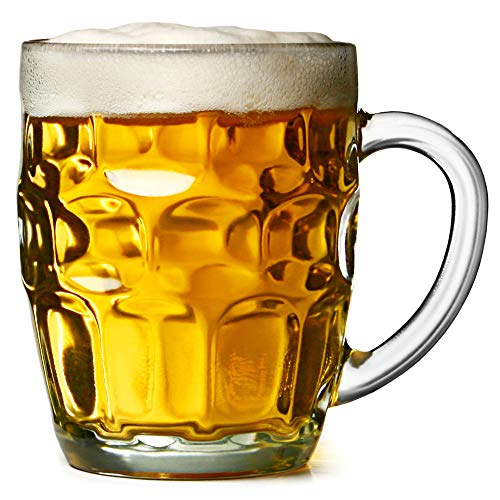 bar@drinkstuff The Great British Pint dimple mug – Set di 4 boccali di vetro 20oz / 568ml, in confezione regalo, ideale come regalo birra