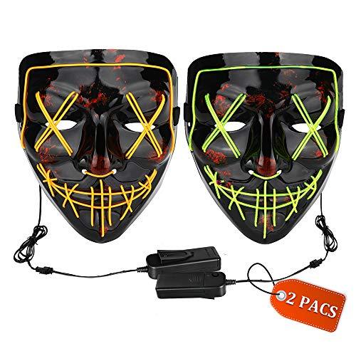 Halloween Mask LED Light up Mask (2 Pack)...