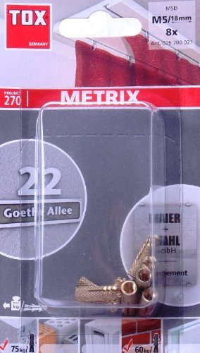 TOX 026700021 Messing-Spreizdübel Metrix M5/18 BL, INHALT: 8 Stück im Blister, 4