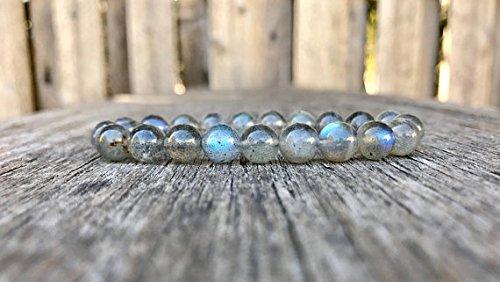 World Wide Gems Pulsera redonda elástica de 8 mm, color gris labradorite suave de 17,7 cm para hombres, mujeres, gf, bf y adultos.