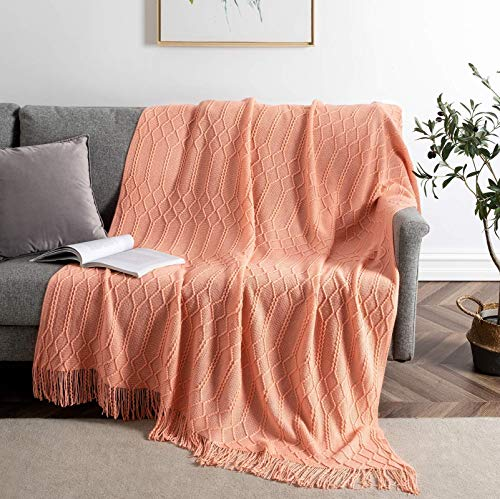 """BRSnugU Acrylic Knitted Throw Blanket Lightweight Cozy & Fluffy Decorative Bed Throws with Tassels for Couch,Sofa,Bed,Travel,Diamond,50""""x60"""",Coral"""
