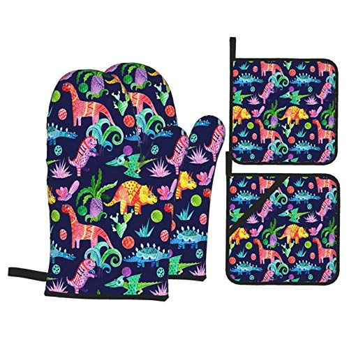 Airmark Oven Mitts and Pot Holders 4pcs Set,Hand Drawn Watercolor Dinosaurs Seamless Pattern,Heat Resistant Non-Slip Kitchen Mitten Cooking Gloves for Kitchen,Cooking,Baking,BBQ