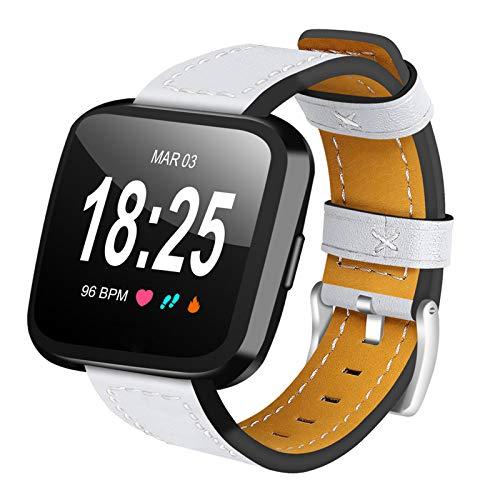 XIALEY Banda De Repuesto De Cuero Compatible con Fitbit Versa 2 / Fitbit Versa/Fitbit Versa Lite, Correa De Reloj Deportivo Pulseras Brazalete De Reloj para Mujeres Compatible con Versa,Blanco