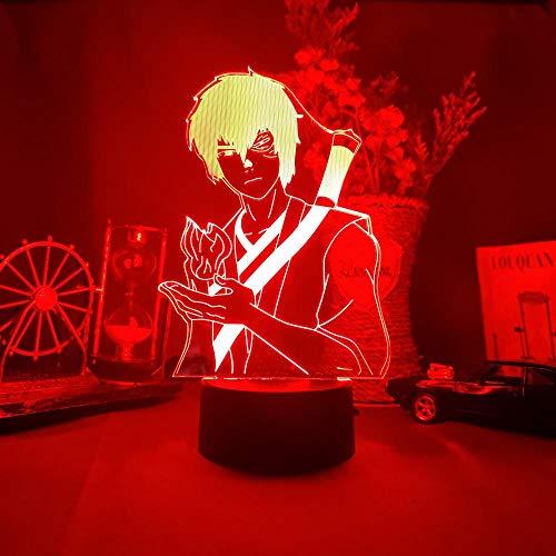 KATA 3D Anime Naruto Zuko Night Light Illusion Prince Zuko Silhouette Otaku Lamp Novelty Led for Kids Bedroom Desk Decor Children-Remote
