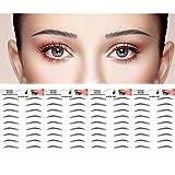 DAGEDA Black 36 Pairs 4 PC Eyebrow Transfers Stickers, Long Lasting Natural Waterproof Bionic Eyebrow Water Transfer Tattoo Eyebrow Sticker For Woman Man Makeup Tool(Black 09)